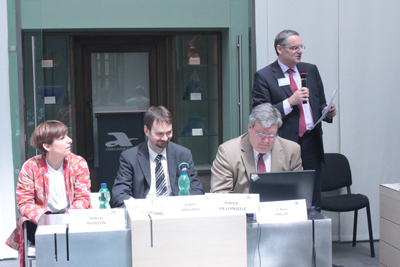 Panel o success fee v mediaci. Zleva R.Regazzoni, R. Cholenský, P.V.Leynseele, P. Phillips.